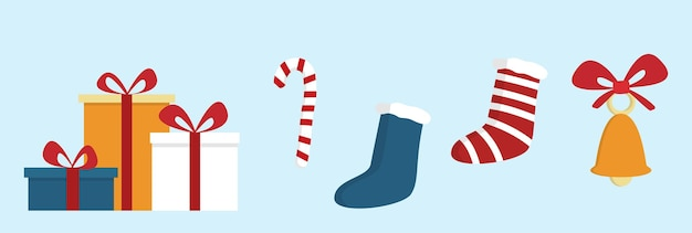 Kerst iconen wintervakantie, vector illustratie geïsoleerde set, geschenkdozen en sokken