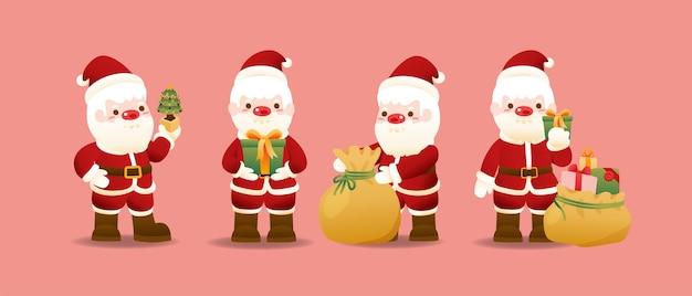 Kerst icoon met karakter van de kerstman.
