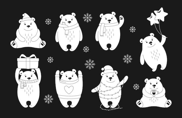 Kerst ijsbeer lijn cartoon set