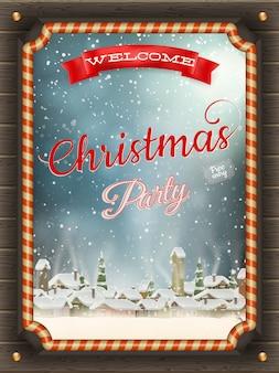 Kerst illustratie frame met kerstballen en winterdorp.