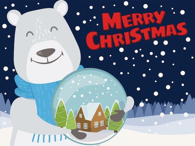 Kerst illustratie met nacht besneeuwde achtergrond