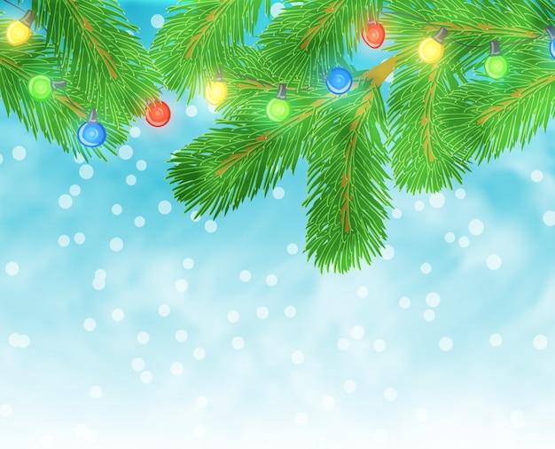 Kerst illustratie met pijnboomtak en gloeilampen