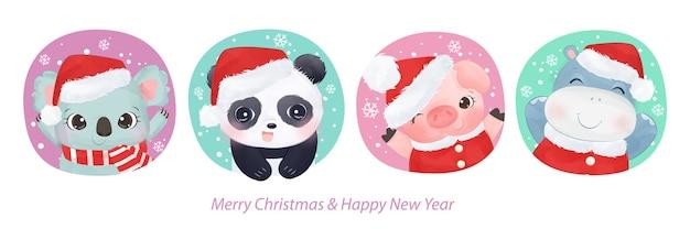 Kerst illustratie met schattige dieren. kerst achtergrond illustratie.