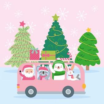 Kerst illustratie met schattige dieren.