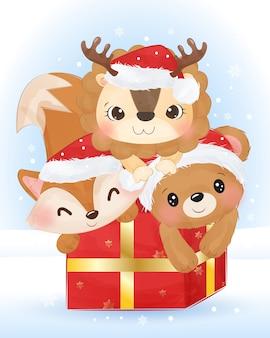 Kerst illustratie met schattige leeuw, vos en beer.