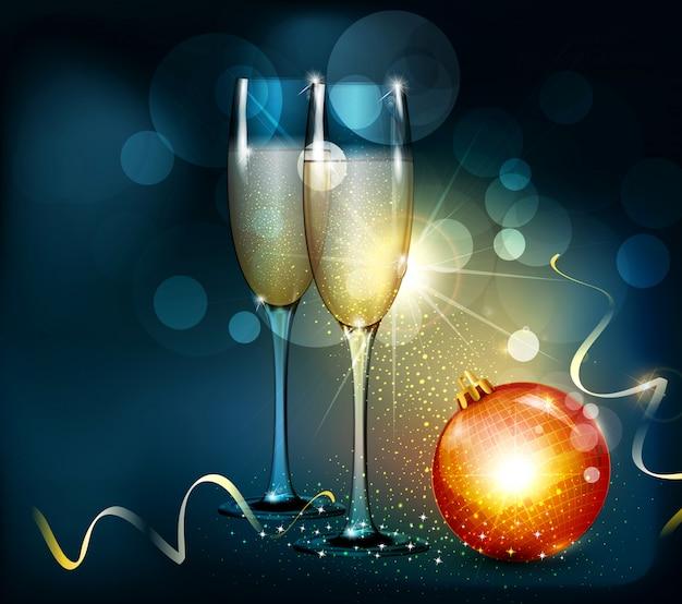 Kerst illustratie met twee glazen en kerst bal