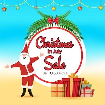 Kerst in juli verkoop spandoekontwerp met de kerstman.