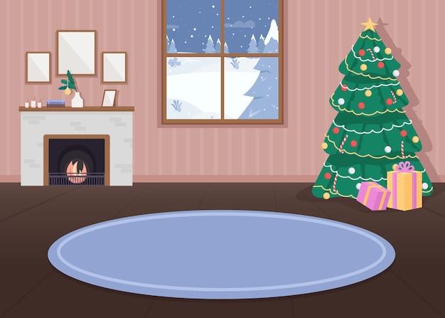 Kerst ingericht huis egale kleur illustratie