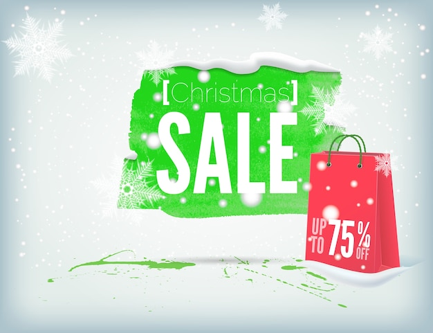Kerst inky banner met een boodschappentas en sneeuwvlokken