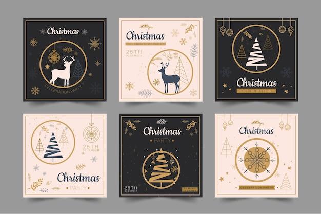 Kerst instagram post collectie Premium Vector
