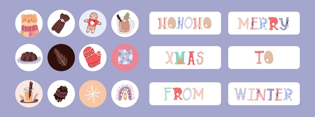 Kerst instagram verhaal element ontwerp schattig dagboek sticker