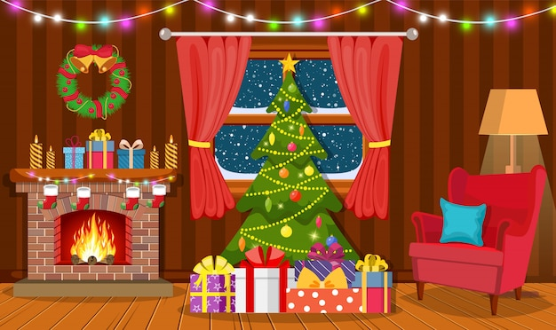 Kerst interieur van de woonkamer
