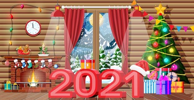 Kerst interieur van kamer met boom en ingerichte open haard