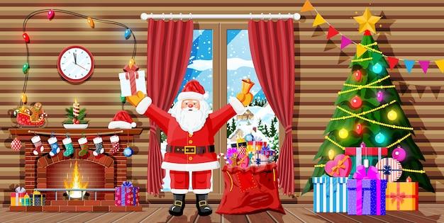 Kerst interieur van kamer met de kerstman