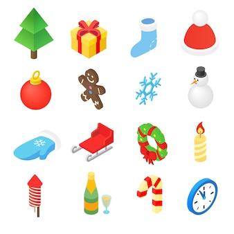 Kerst isometrische 3d-kleuren pictogrammen instellen