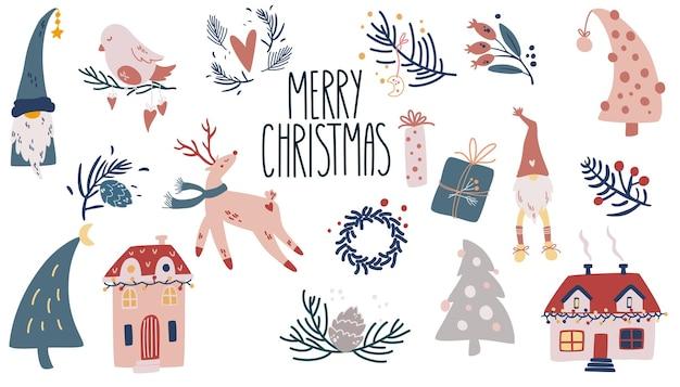 Kerst items collectie. geschenken, twijgen, herten, vogels, schattige huisjes, slingers. cartoon vectorillustratie voor wenskaarten, kerstuitnodigingen en scrapbooking.