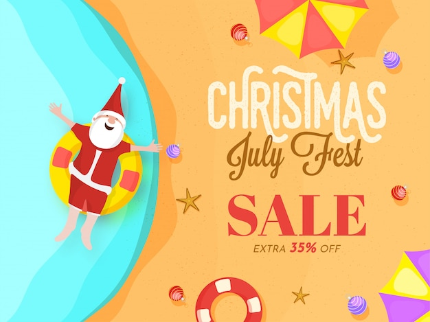 Kerst juli fest-poster met happy santa claus.