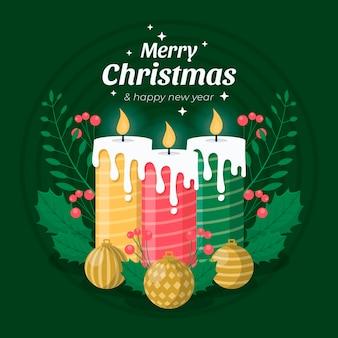 Kerst kaars achtergrond in plat ontwerp