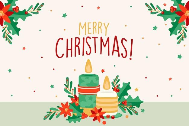 Kerst kaars achtergrond in platte ontwerp