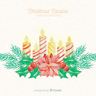 Kerst kaars aquarel achtergrond