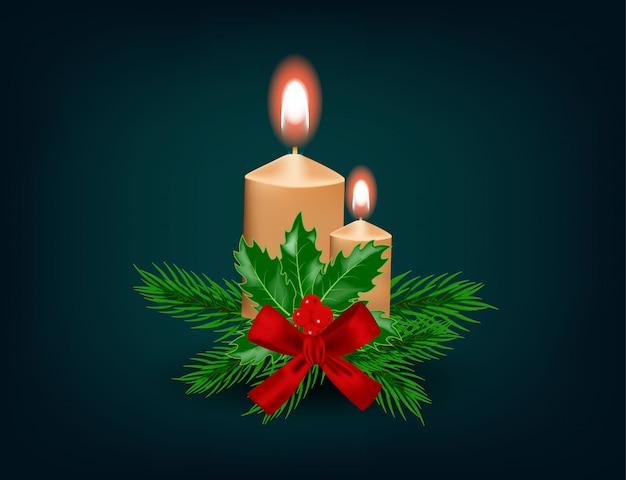 Kerst kaars met lint, decoratie