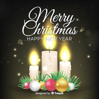 Kerst kaars metalen ballen achtergrond