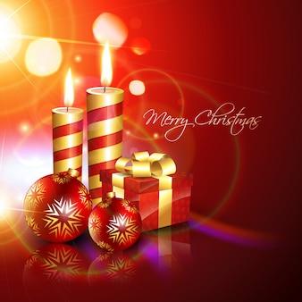 Kerst kaarsen, bal en cadeau achtergrond
