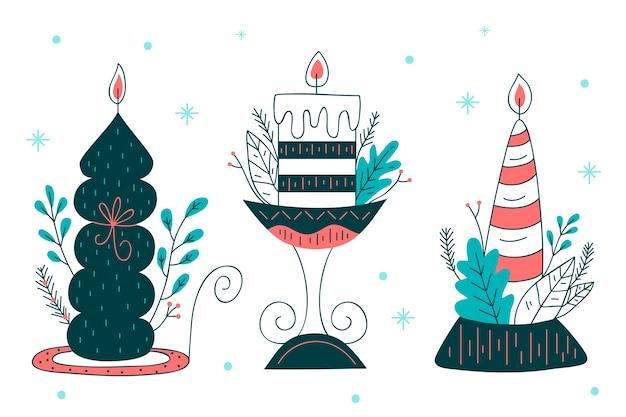 Kerst kaarsen hand getekende stijl