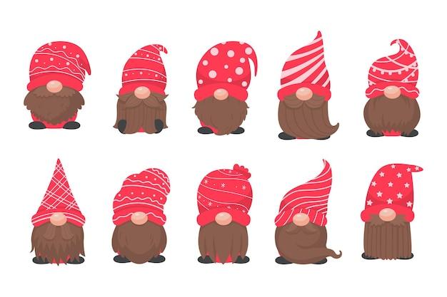 Kerst kabouter. een kleine kabouter met een rode wollen hoed. vieren op kerstmis