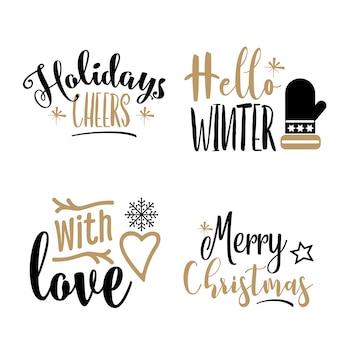 Kerst kalligrafie set geïsoleerd op witte achtergrond