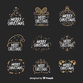 Kerst kalligrafische badges collectie