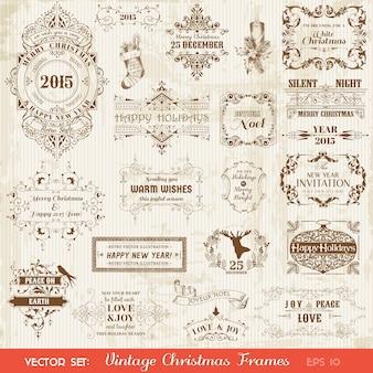 Kerst kalligrafische ontwerpelementen instellen