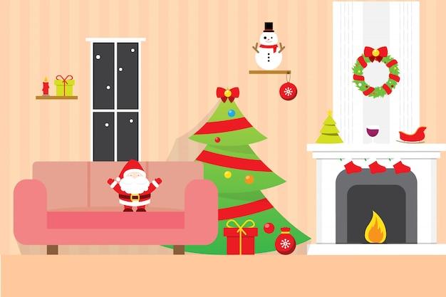 Kerst kamer achtergrond behang