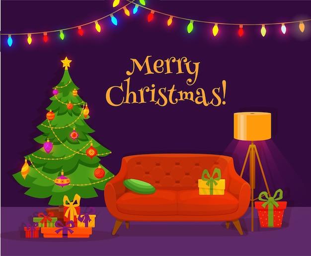 Kerst kamer interieur in kleurrijke cartoon vlakke stijl