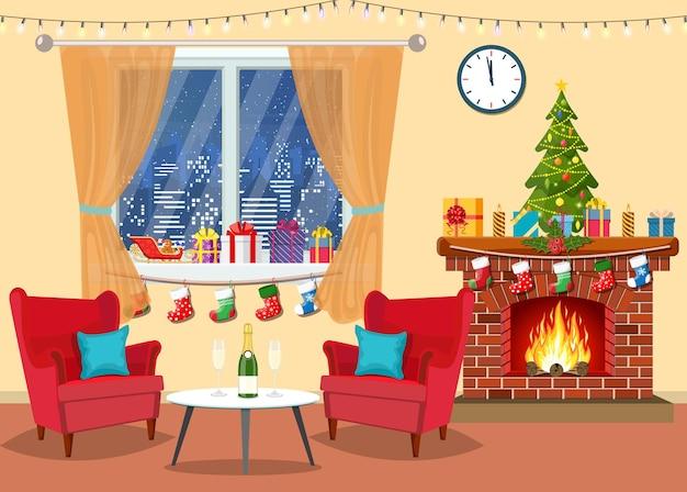 Kerst kamer interieur.