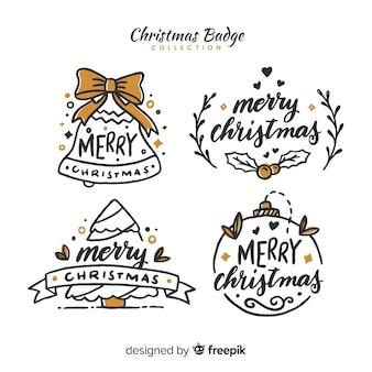 Kerst kant getrokken kalligrafische badges collectie