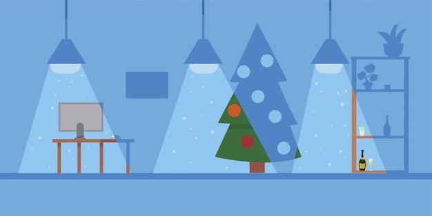 Kerst kantoor illustratie met werkplek en versierde kerstboom