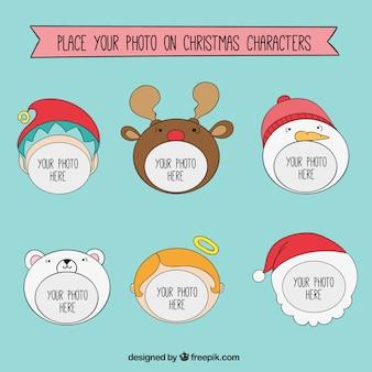 Kerst karakter frames sjabloon