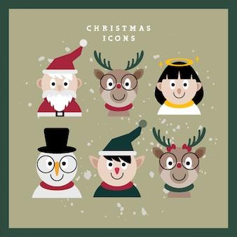 Kerst karakter gezichten