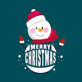 Kerst karakter met belettering illustratie