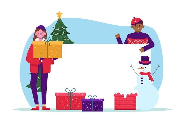 Kerst karakter met lege banner