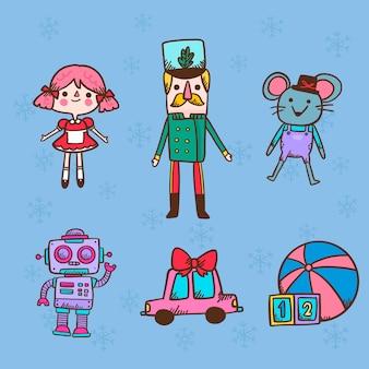 Kerst karakter pop speelgoed hand getrokken