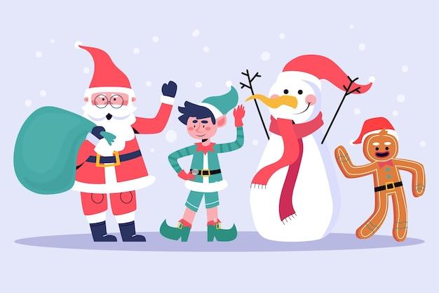 Kerst karakters collectie in plat design
