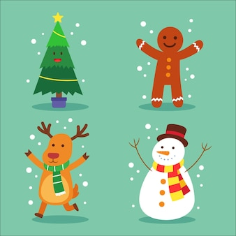 Kerst karakters collectie in plat design Gratis Vector