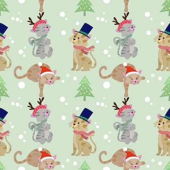 Kerst kat naadloze patroon.