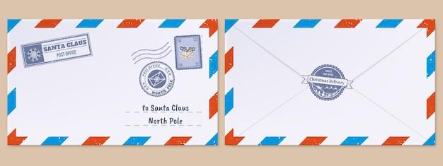 Kerst kerstman brief kerstvakantie verlanglijstje brief mailing envelop met poststempels postzegels