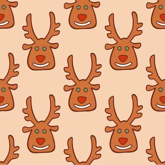 Kerst kerstman rendier koekjes patroon achtergrond kerst vectorillustratie