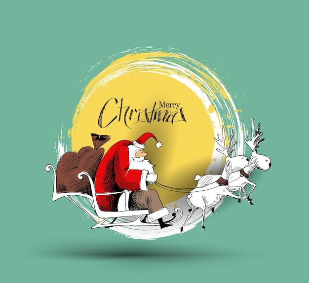 Kerst kerstman rijden in een slee, merry christmas vector.