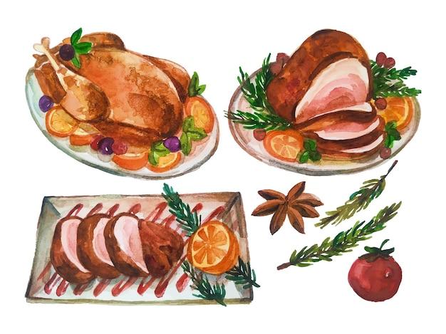 Kerst kip maaltijd aquarel vector