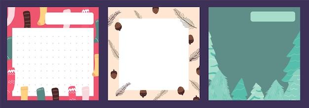 Kerst kladblok, notitie, dagboek, briefkaarten patroon schattig stickerontwerp